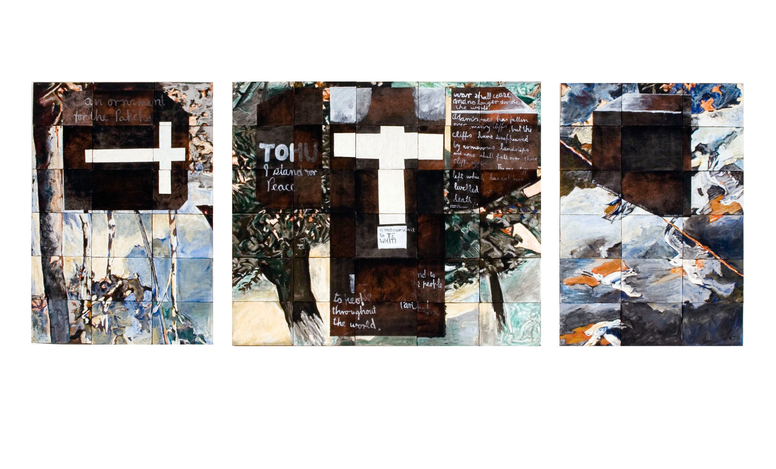 Imants Tillers   Parihaka Triptychon , 1987  oilstick gouache, synthetic polymer paint on 66 canvasboards, nos. 16309 - 16374 76.2 x 195.5 cm Private Collection, Australia