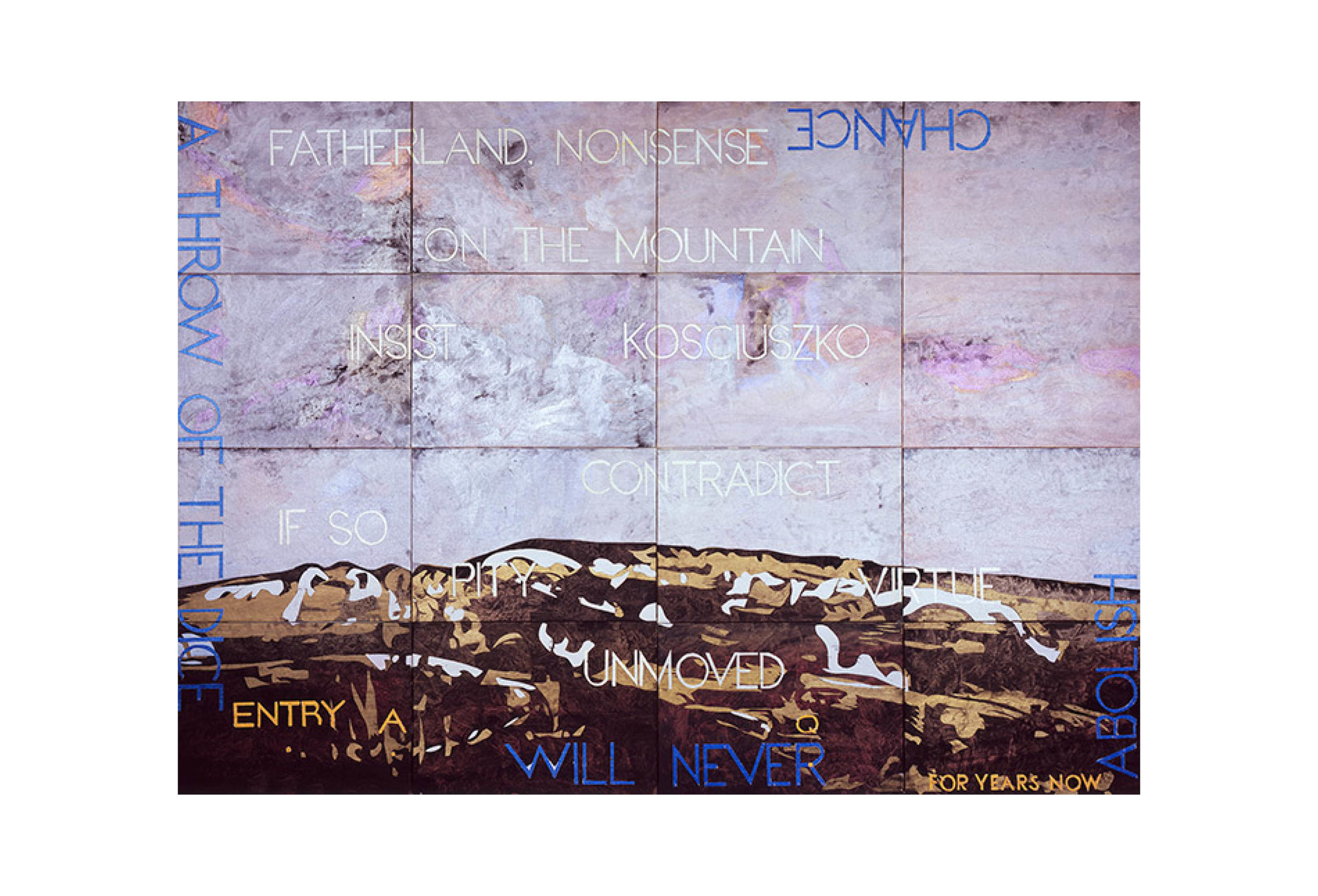 Imants Tillers   Nature Speaks: AQ   acrylic, gouache on 16 canvas boards 101 × 142cm