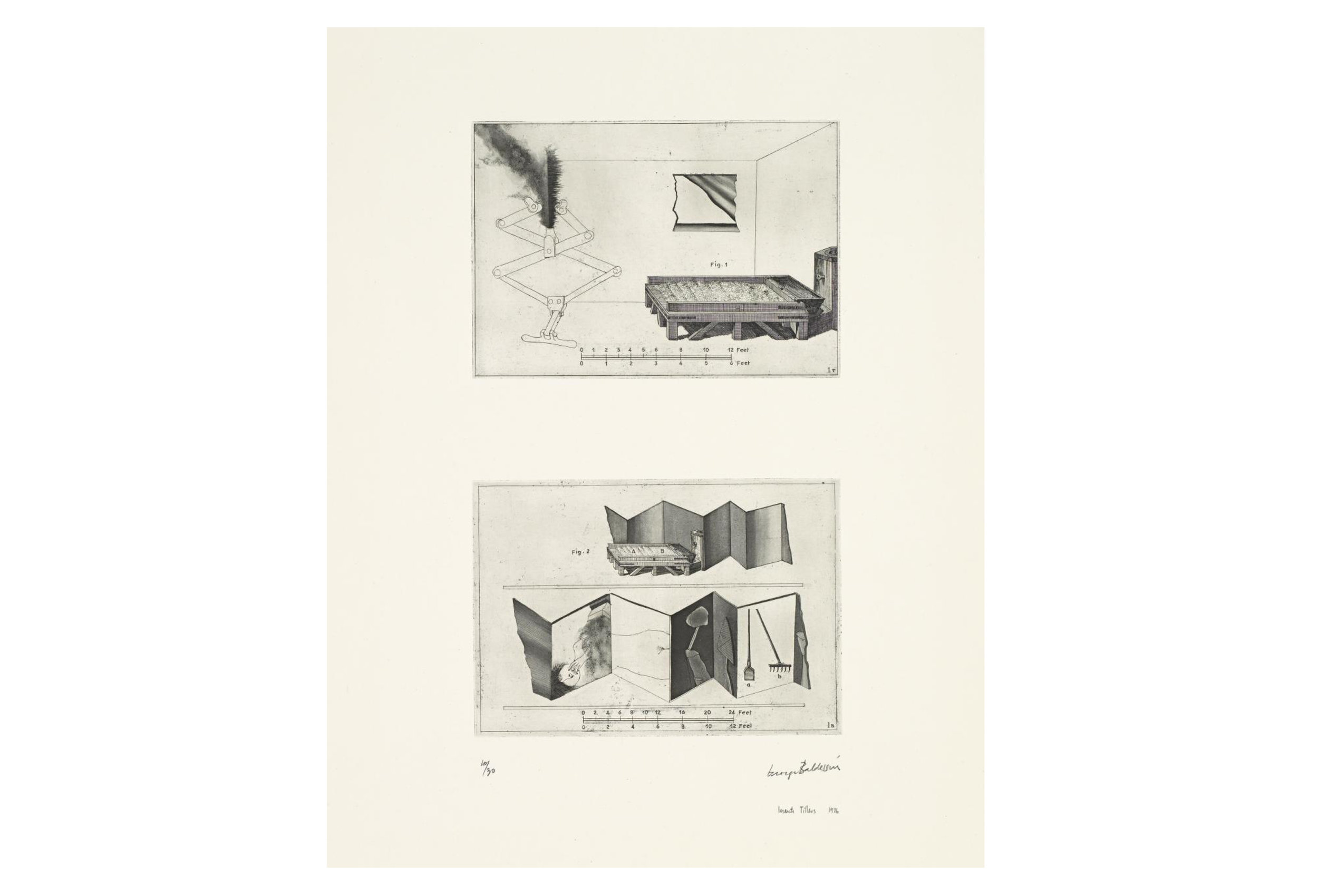 Imants Tillers and George Baldessin   According to Des Esseintes 1 , 1976  from the suite According to Des Esseintes etching and aquatint on arches paper printed by Pascal Giraudon in Nice, France 18.0 × 25.6 cm (plate) (top) 17.8 × 25.6 cm (plate) (bottom) 42.6 × 25.6 cm (comp.) 64.8 × 50.8 cm (sheet) Collections: National Gallery of Victoria, Melbourne; Art Gallery of New South Wales; National Gallery, Wellington, Queensland Art Gallery, Brisbane, National Gallery of Australia, Canberra