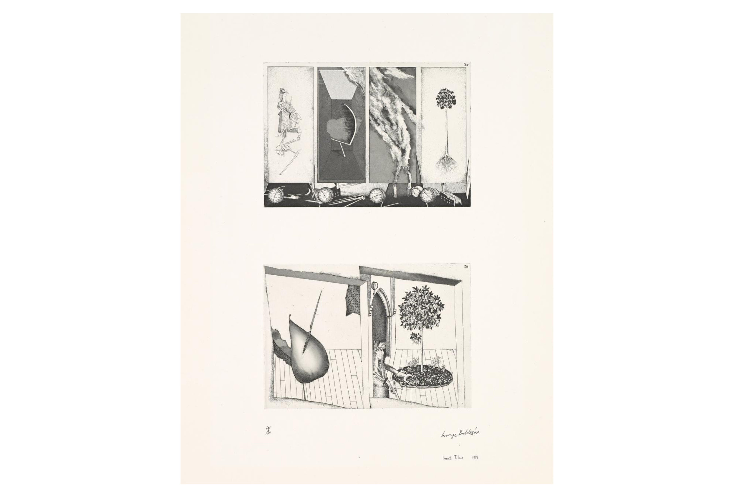 Imants Tillers and George Baldessin   According to Des Esseintes 2 , 1976  from the suite According to Des Esseintes etching and aquatint on arches paper printed by Pascal Giraudon in Nice, France 18.0 × 25.6 cm (plate) (top) 17.8 × 25.6 cm (plate) (bottom) 42.6 × 25.6 cm (comp.) 64.8 × 50.8 cm (sheet) Collections: National Gallery of Victoria, Melbourne; Art Gallery of New South Wales; National Gallery, Wellington, Queensland Art Gallery, Brisbane, National Gallery of Australia, Canberra