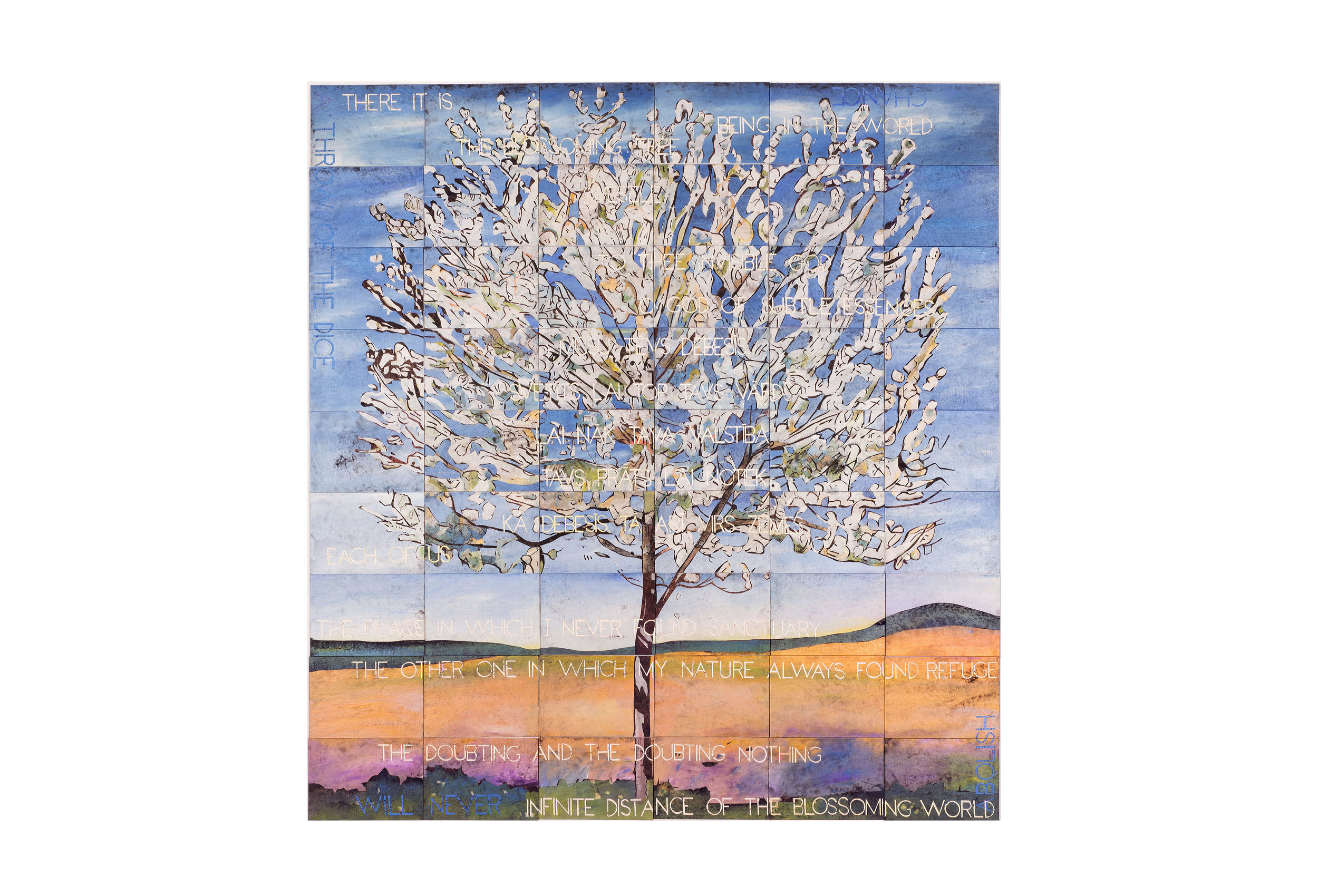 Imants Tillers   The Blossoming Tree , 2017  acrylic, gouache on 54 canvas boards, no. 98784 - 98837 228.5 × 213cm Exhibited:  Imants Tillers: In Normal Times , Roslyn Oxley9 Gallery, Sydney, 2017