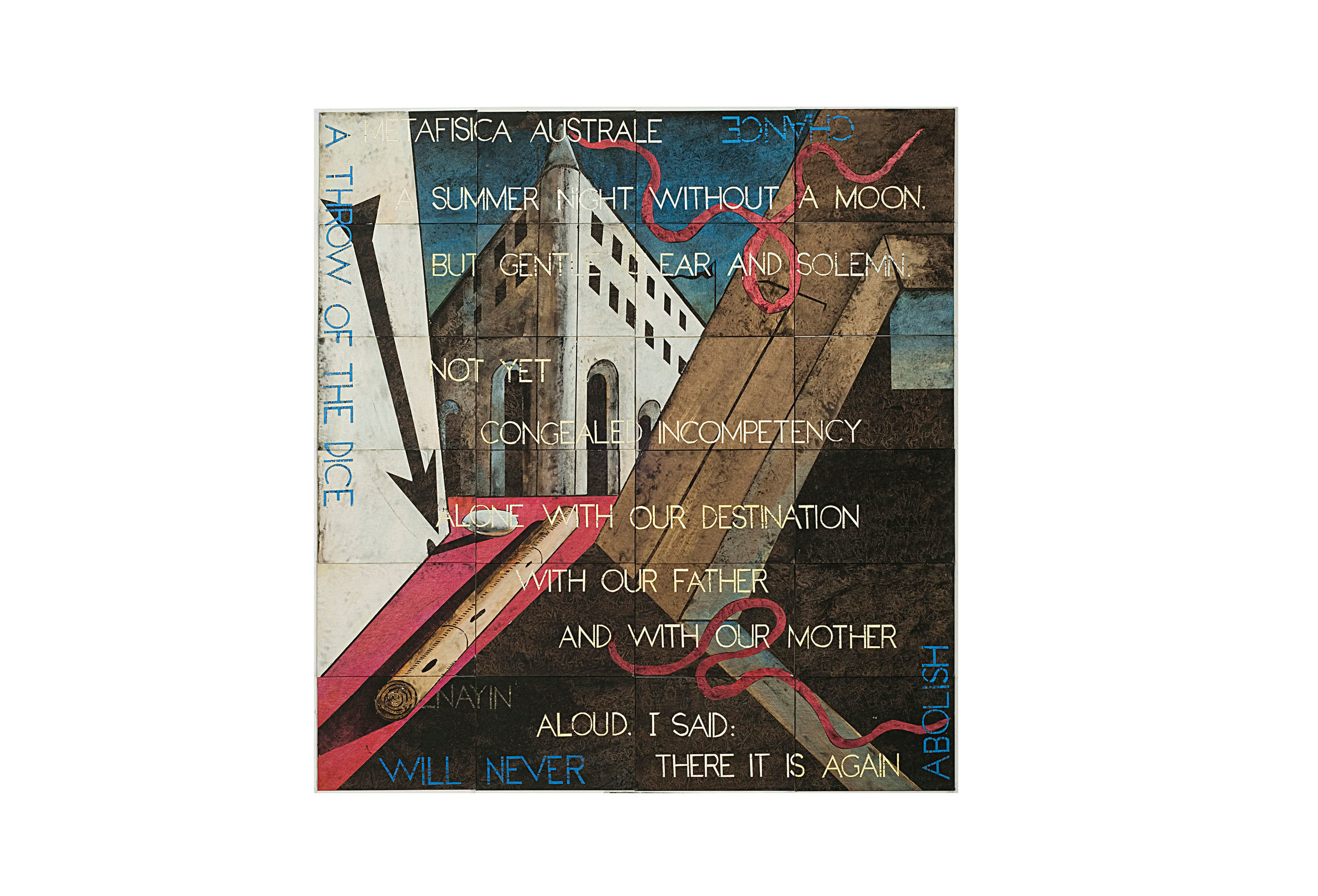 Imants Tillers   Blue Tongue Ancestor , 2014  acrylic, gouache on 24 canvasboards, nos. 95285 - 95308 150.5 × 142.5cm Exhibited:  Imants Tillers: Metafisica Australe , Roslyn Oxley9 Gallery, Sydney, 2014