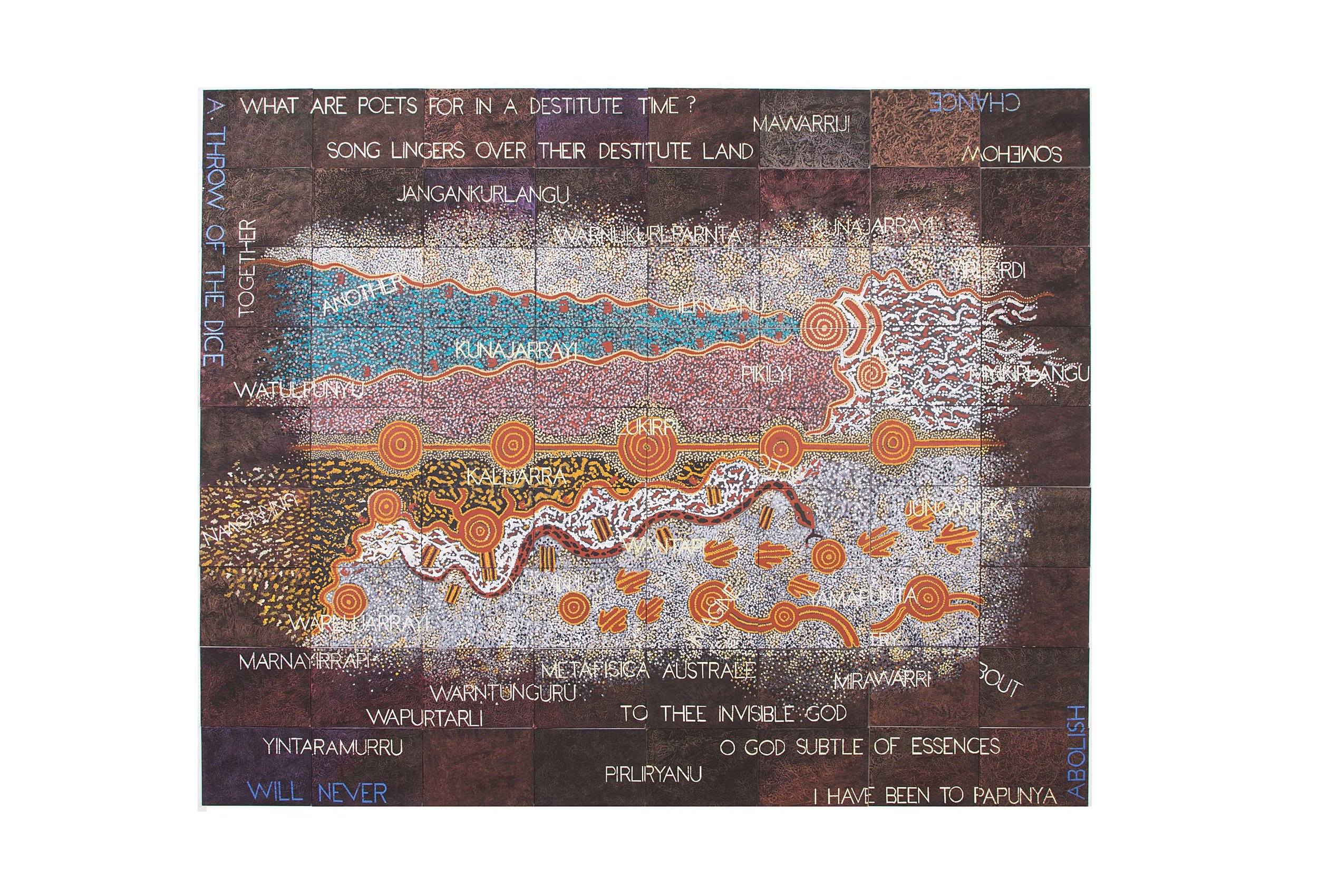 Imants Tillers and Michael Nelson Jagamarra   Metafisica Australe , 2017  synthetic polymer paint, gouahc on 72 canvasboards 245 x 285 cm Collection: Queensland Art Gallery   Gallery of Modern Art, Brisbane Exhibited:  Sydney Contemporary , with Fireworks Gallery, Brisbane, Carriageworks, Sydney, September 2017