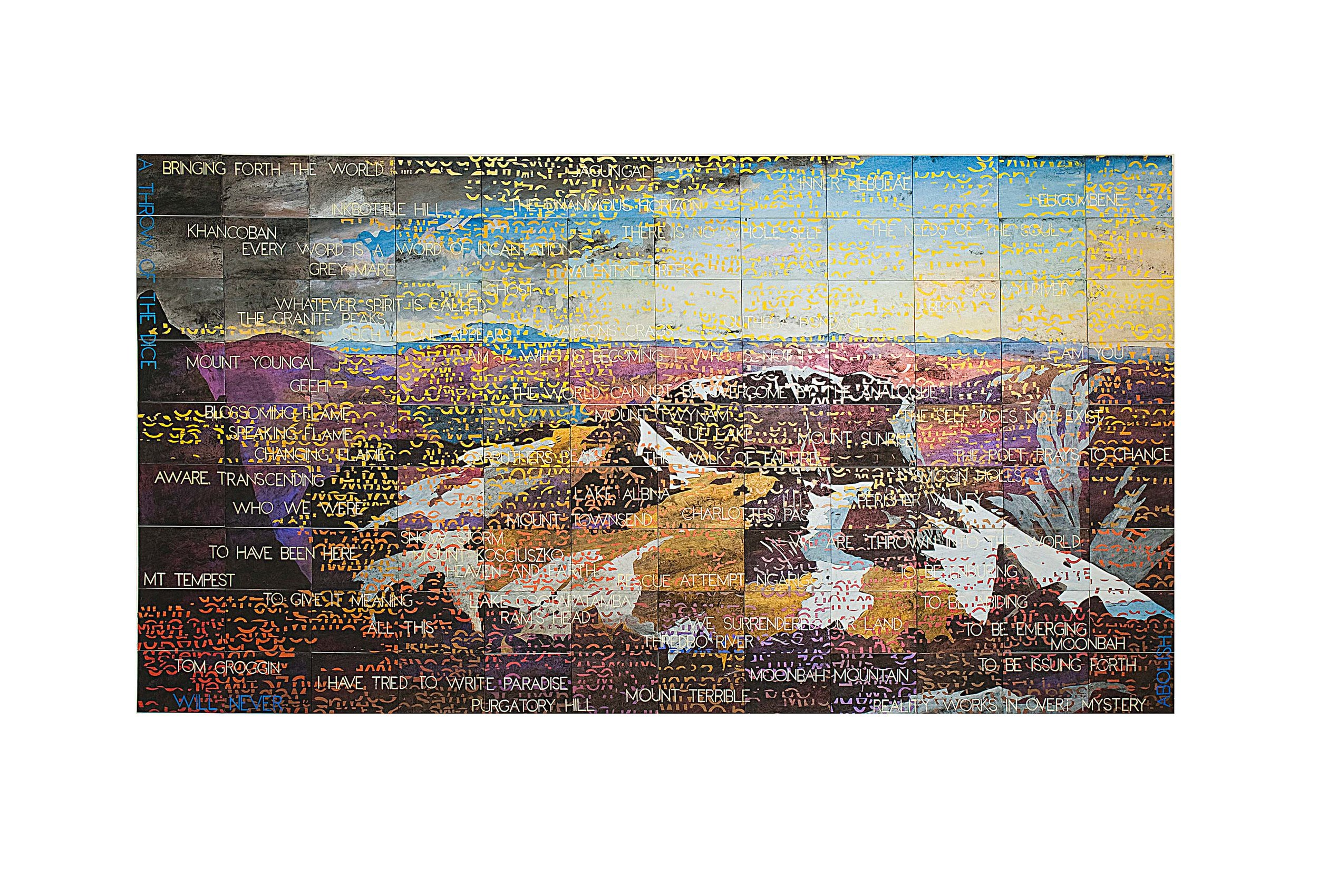 Imants Tillers   On the Mountain , 2013  acrylic, gouache on 108 canvas boards, nos. 89998-90105 226 × 424.5cm Exhibited:  Imants Tillers :  Metafisica Australe,  Roslyn Oxley9 Gallery, Sydney, 2015