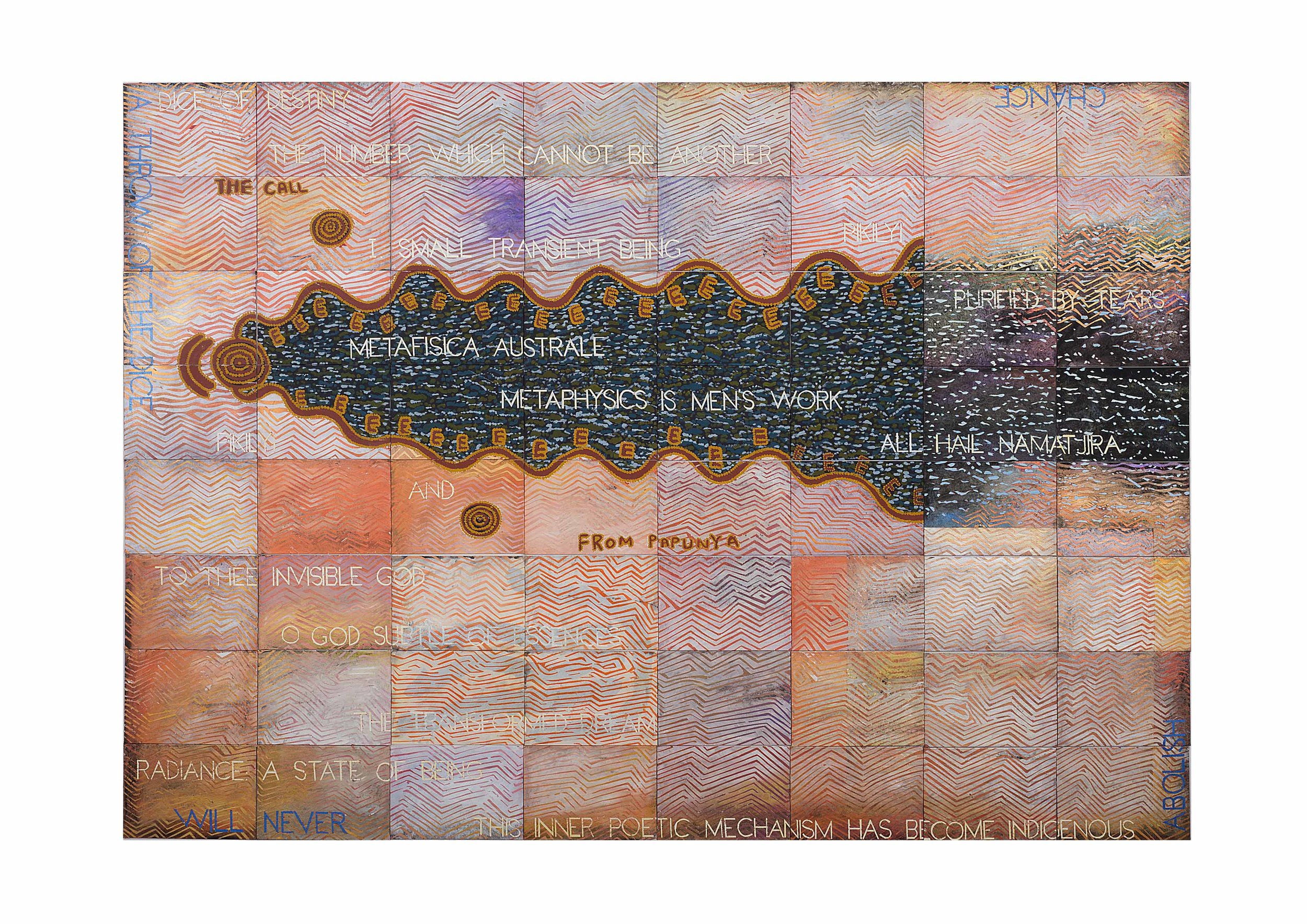 Imants Tillers and Michael Nelson Jagamarra   The Call From Papunya , 2018  synthetic polymer paint and gouache on 64 canvasboards nos. 102696 - 102759 203.2 x 284.4 cm