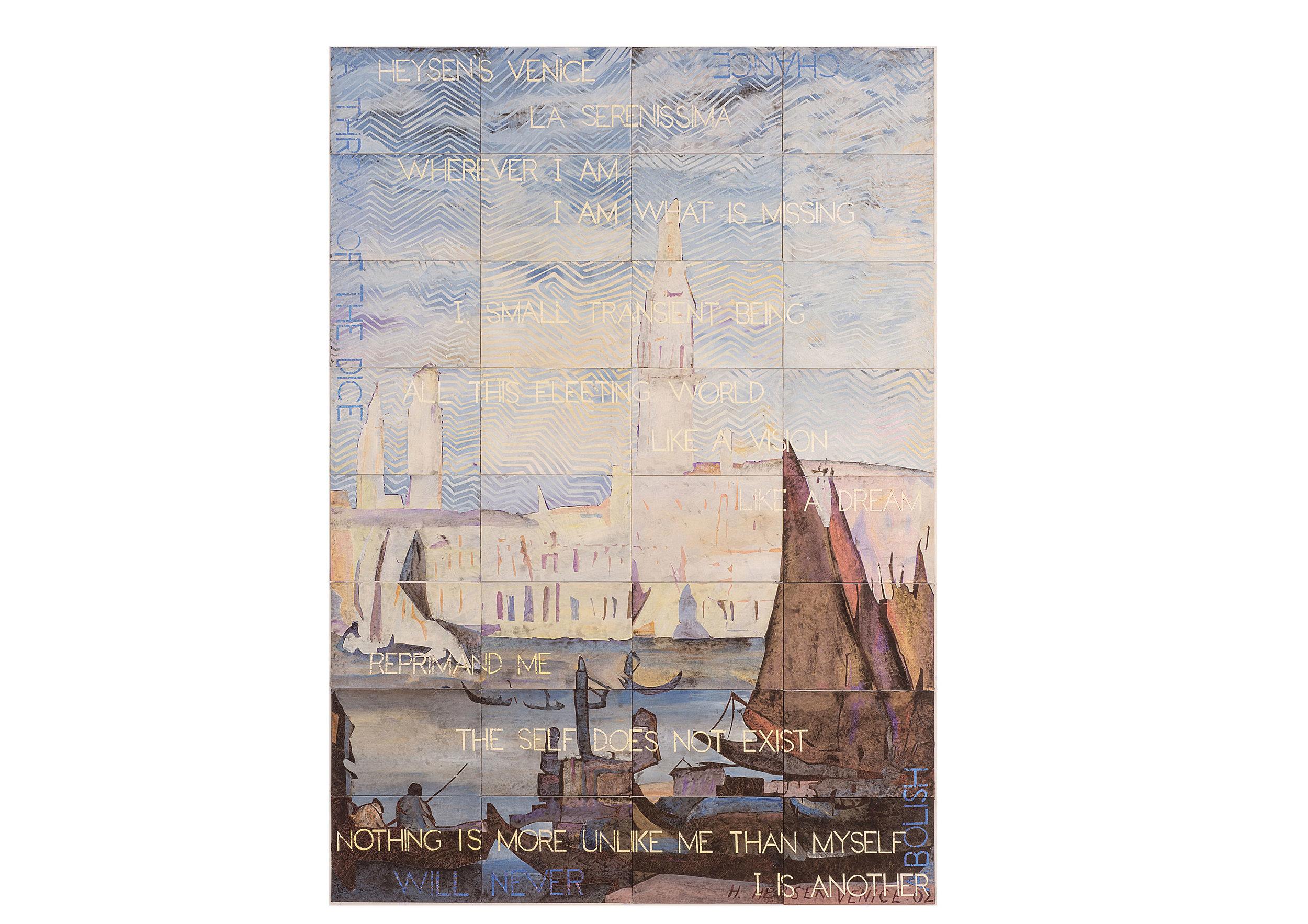 Imants Tillers   Heyson's Venice , 2017  synthetic polymer paint, gouache on 32 canvasboards 203 x 142 cm