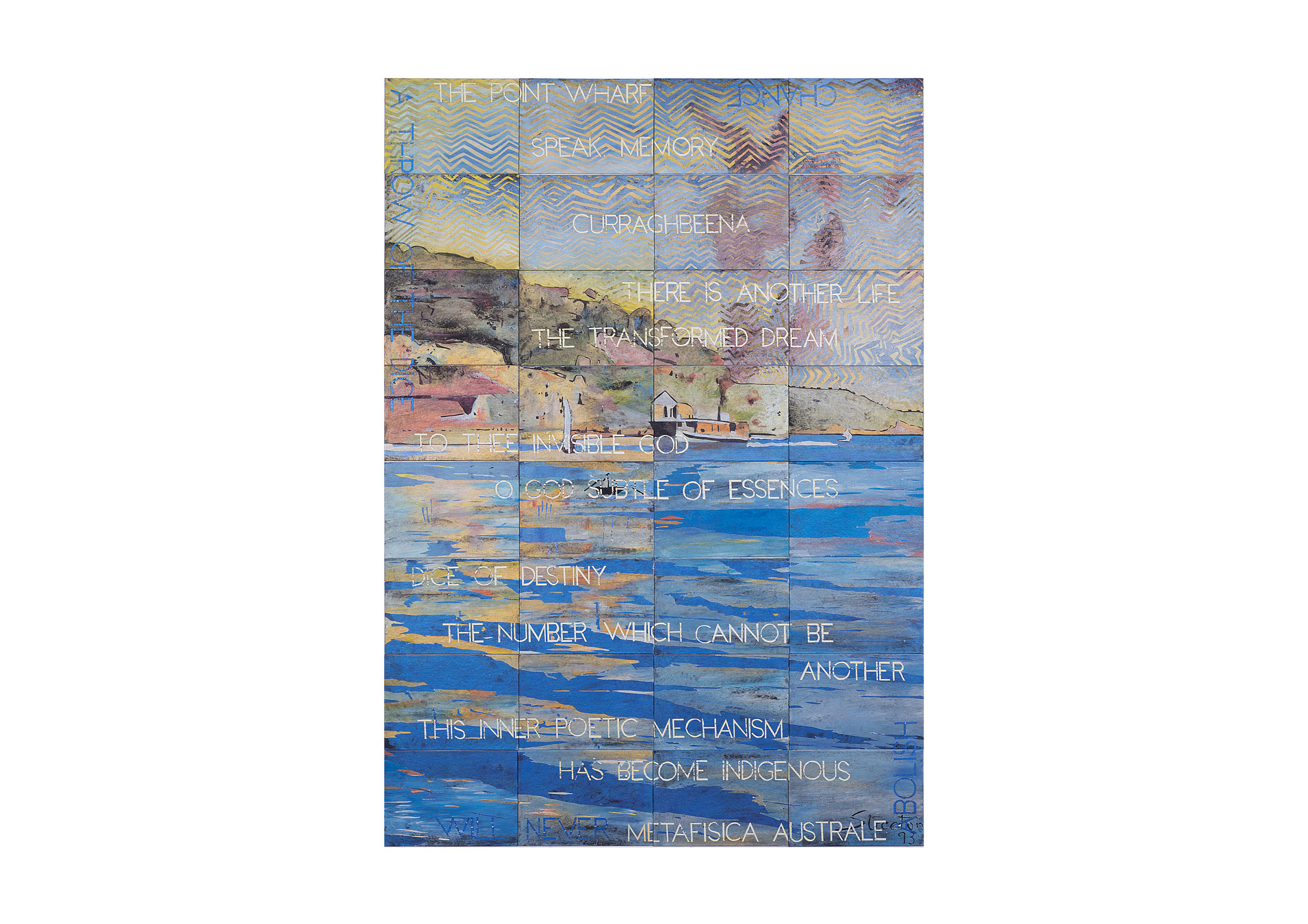 Imants Tillers   The Point Wharf , 2018  synthetic polymer paint, gouache on 32 canvasboards 203 × 142cm Private Collection, Sydney