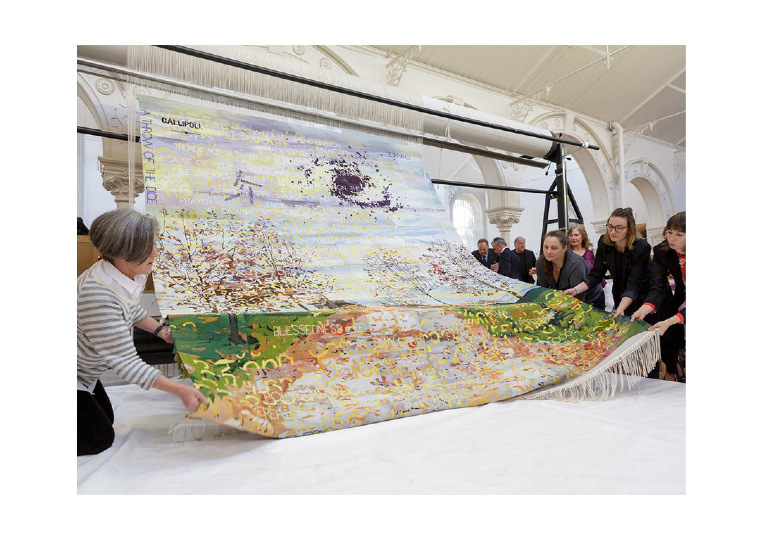 Imants Tillers and the Australian Tapestry Workshop   Avenue of Rememberance , 2014-15  tapestry: cotton and wool 330 x 280 cm Cutting off ceremony at the Australian Tapestry Workshop, Melbourne. Collection: Australian War Memorial, Canberra