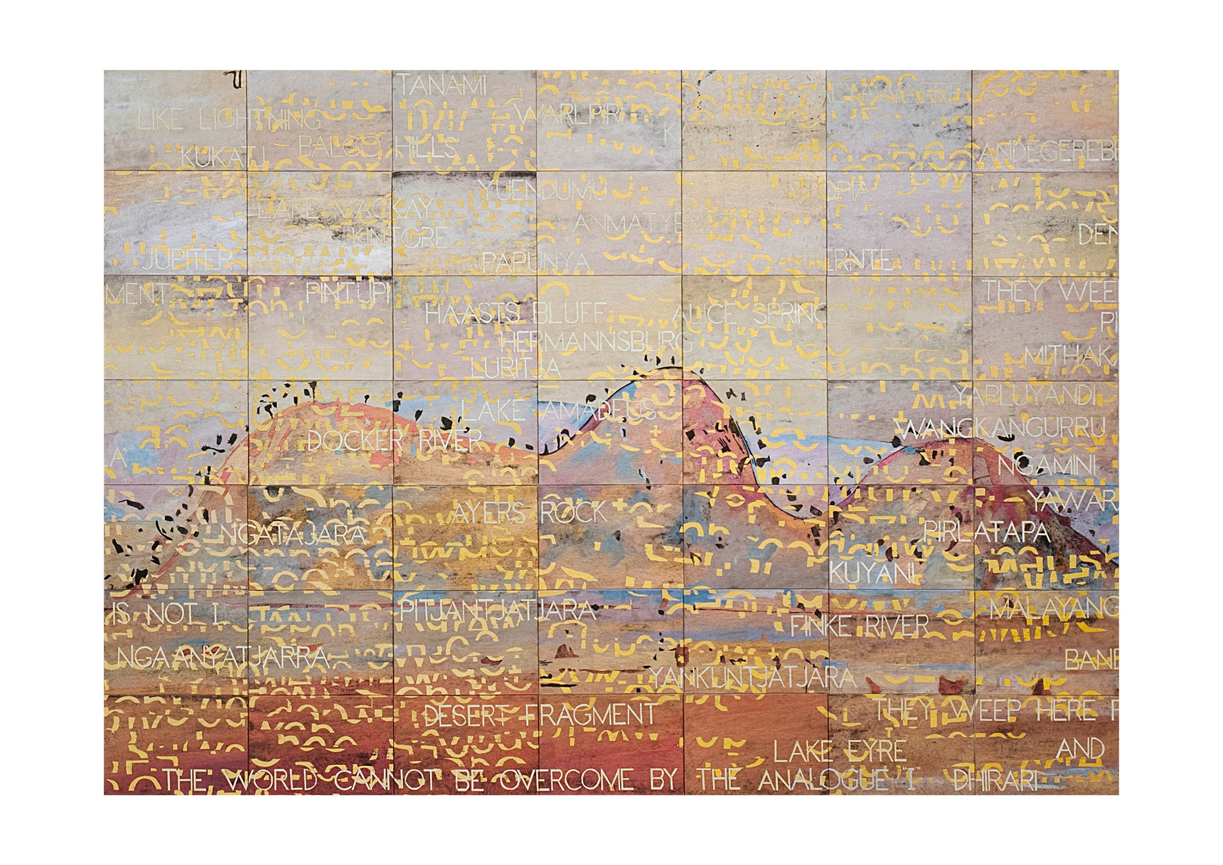 Imants Tillers   Tabula Rasa (For My Father) , 2011  [DETAIL] synthetic polymer paint, gouache on 288 canvasboards, nos. 87889 - 88176 304.8 × 853.4cm Collection: Museum of Contemporary Art, Sydney