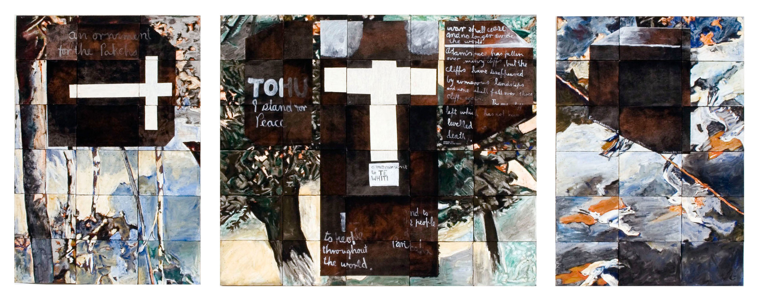 Imants Tillers,  Parihaka Triptychon , 1987, oilstick gouache, synthetic polymer paint on 66 canvasboards, nos. 16309 - 16374, 76.2 x 195.5 cm. Private Collection, Australia