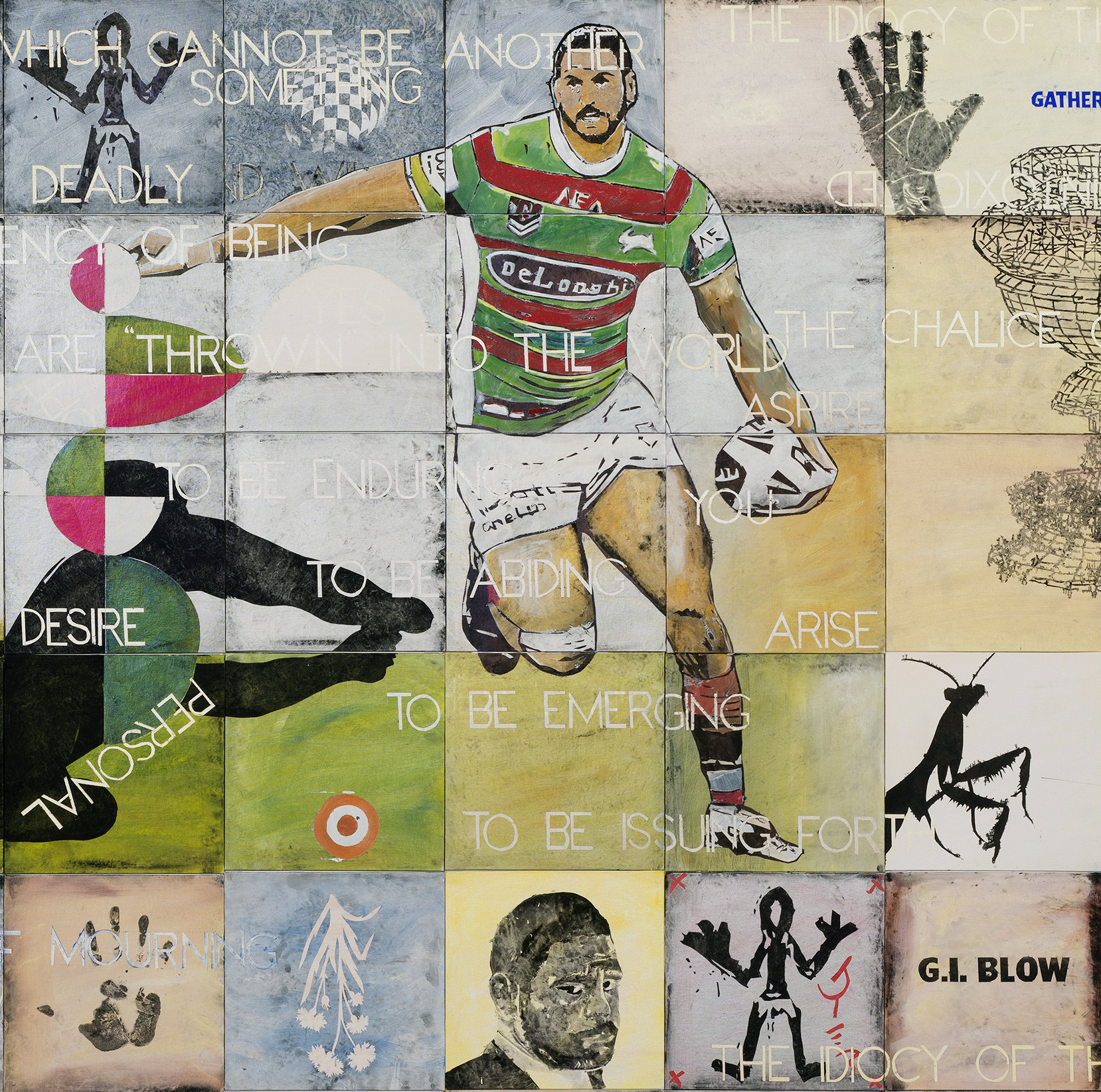Detail from Imants Tillers,  All hail Greg Inglis  (2019) synthetic polymer paint and gouache on 64 canvasboards nos. 108314-108377, 242 x 242 cm overall. Photo: Schoo's studio.