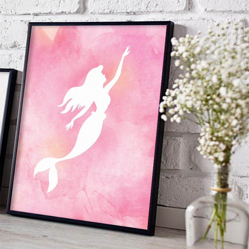 Pink Watercolor Mermaid Digital Print - Free Download  HERE