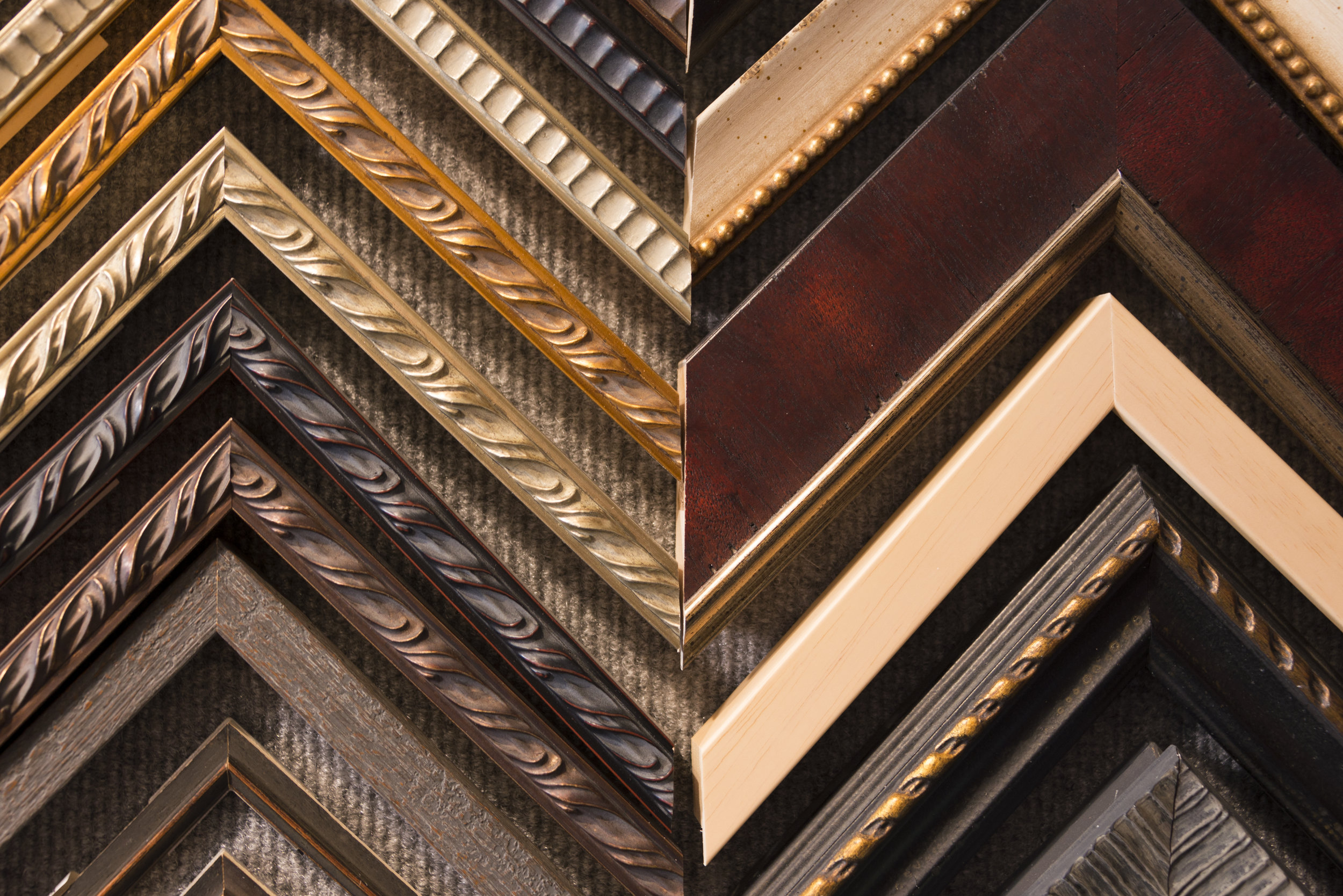 Picture Framing molding samples in South Lake Tahoe frame Shop
