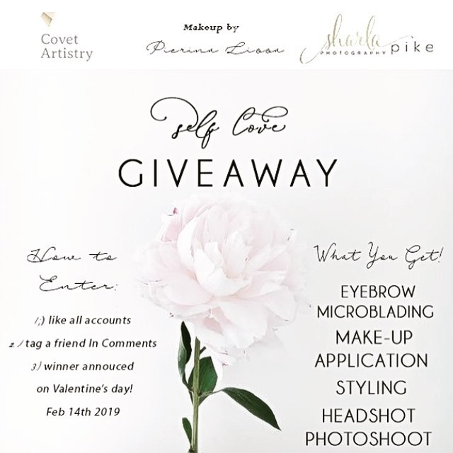 "In the spirit of ❤️LOVE❤️ this Valentine's Day we have teamed up to give away an amazing ""self love"" giveaway! It includes eyebrow microblading from @covet_artistry , makeup application from @pierinalissamakeup styling from Oyama vintage & a headshot photo session with @sharlapikephotography package valued at over $700!  To enter :  1:)Follow all accounts  2:) tag a friend in comments  3:) winner announced Feb 14th, 2019"