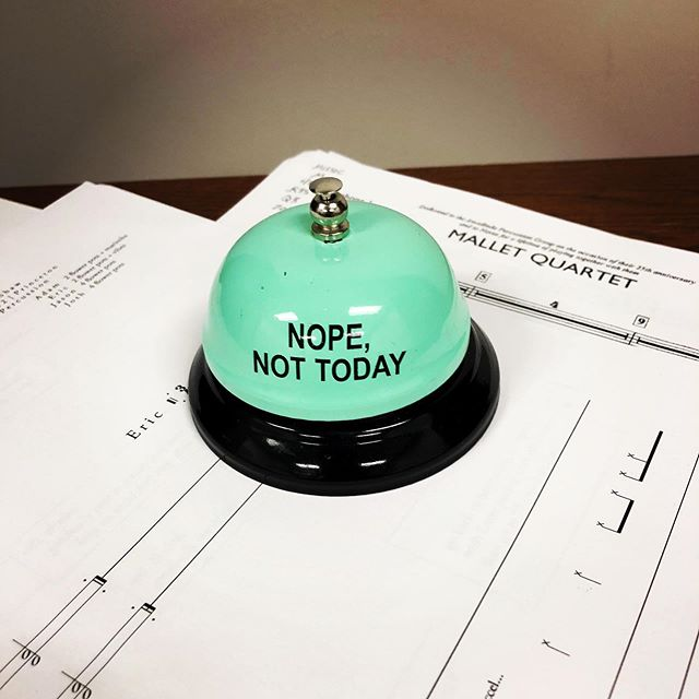 We're in Ann Arbor this week frontloading notes for this season! We'll have some shenanigans for you soon, but for now here's a desk bell that tells it like it is (feat. A sneak peak of our rep for this year!). #newmusic #percussion #drums #deskbells #contemporarymusic