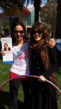 Marianne Williamson for Congress campaign. I had the honor of making custom made hoops with her name on the hoops for the campaign :-) Keep spreading your message Marianne!