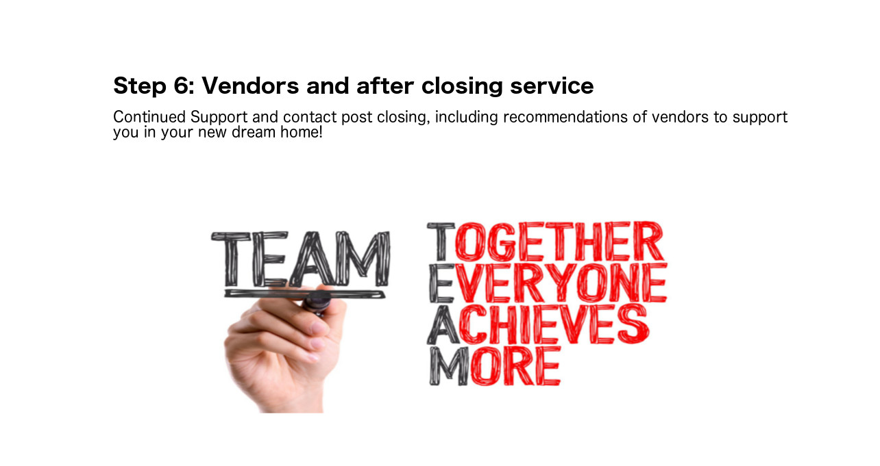 Step 6: Vendors and after closing service