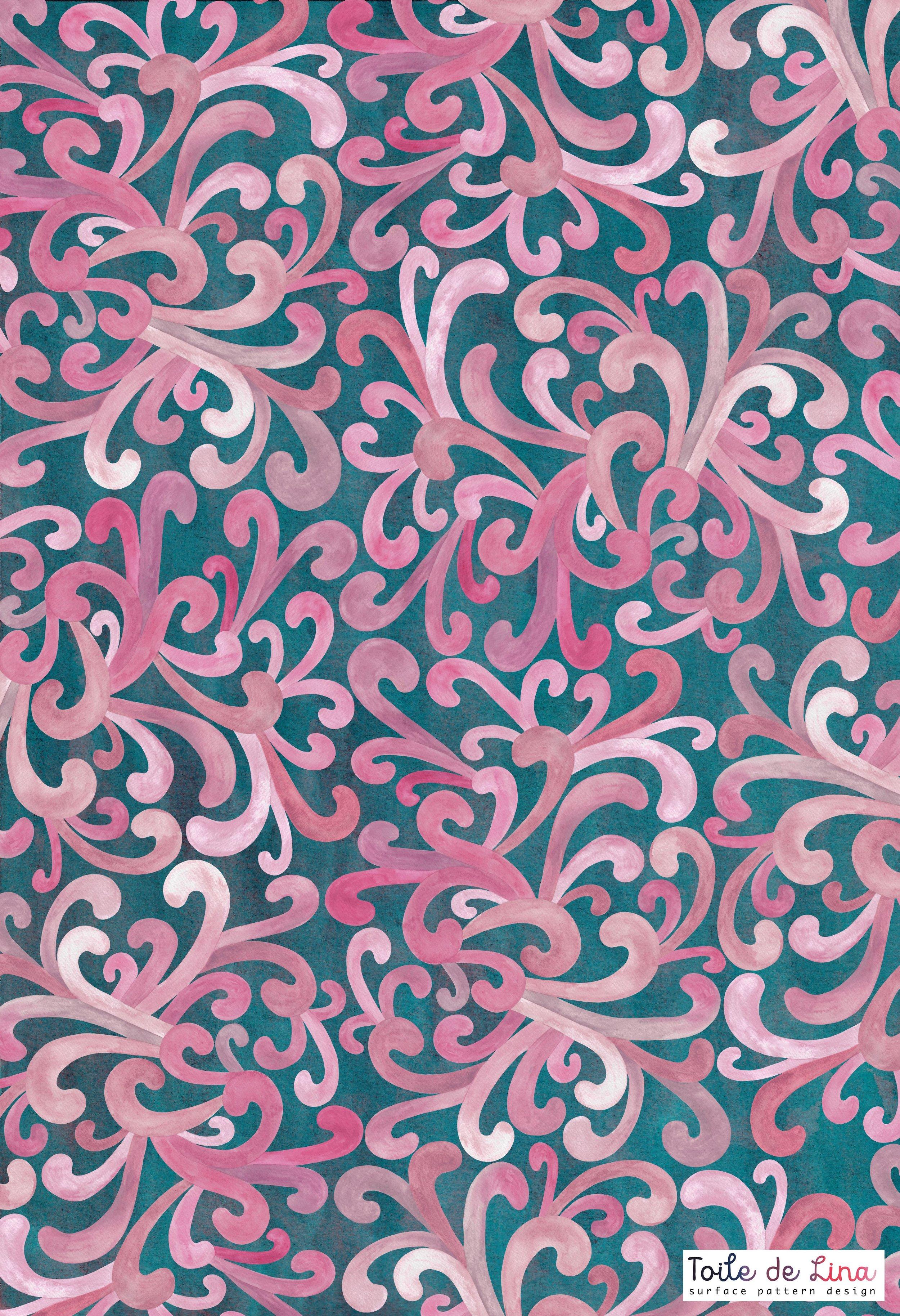 Pink Paisleyon Green.jpg