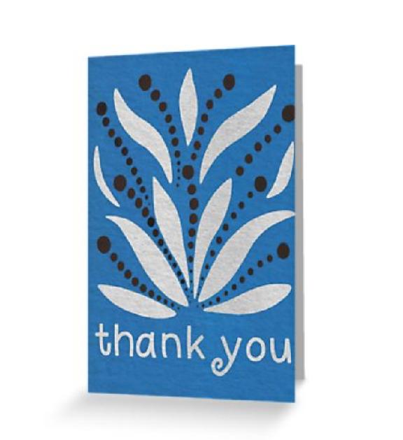 Silver Leaf Thank You Card