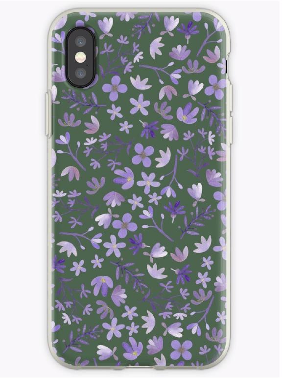 Purple Watercolor Flowers on Green