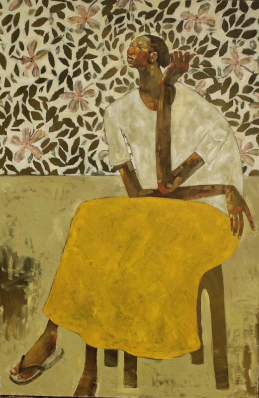 Woman Sitting with Hibiscus - Kangemi