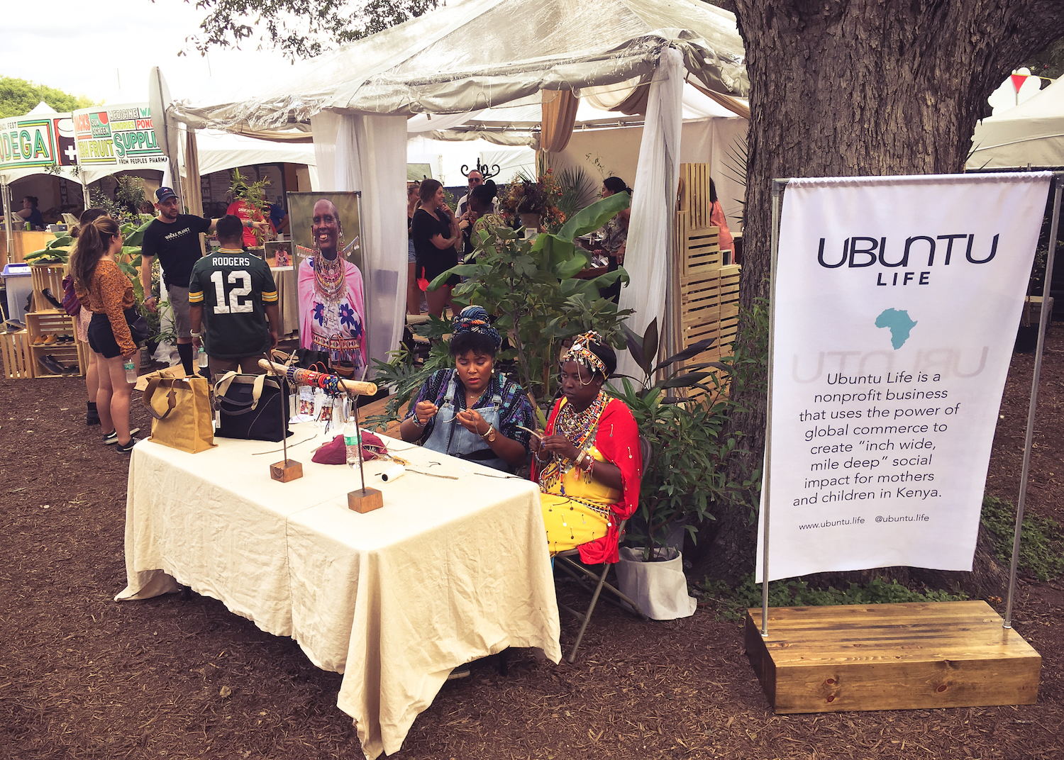 Ubuntu Life at Austin City Limits Music Festival, with Maasai maker mums hand-beading products on site as they interacted with consumers.