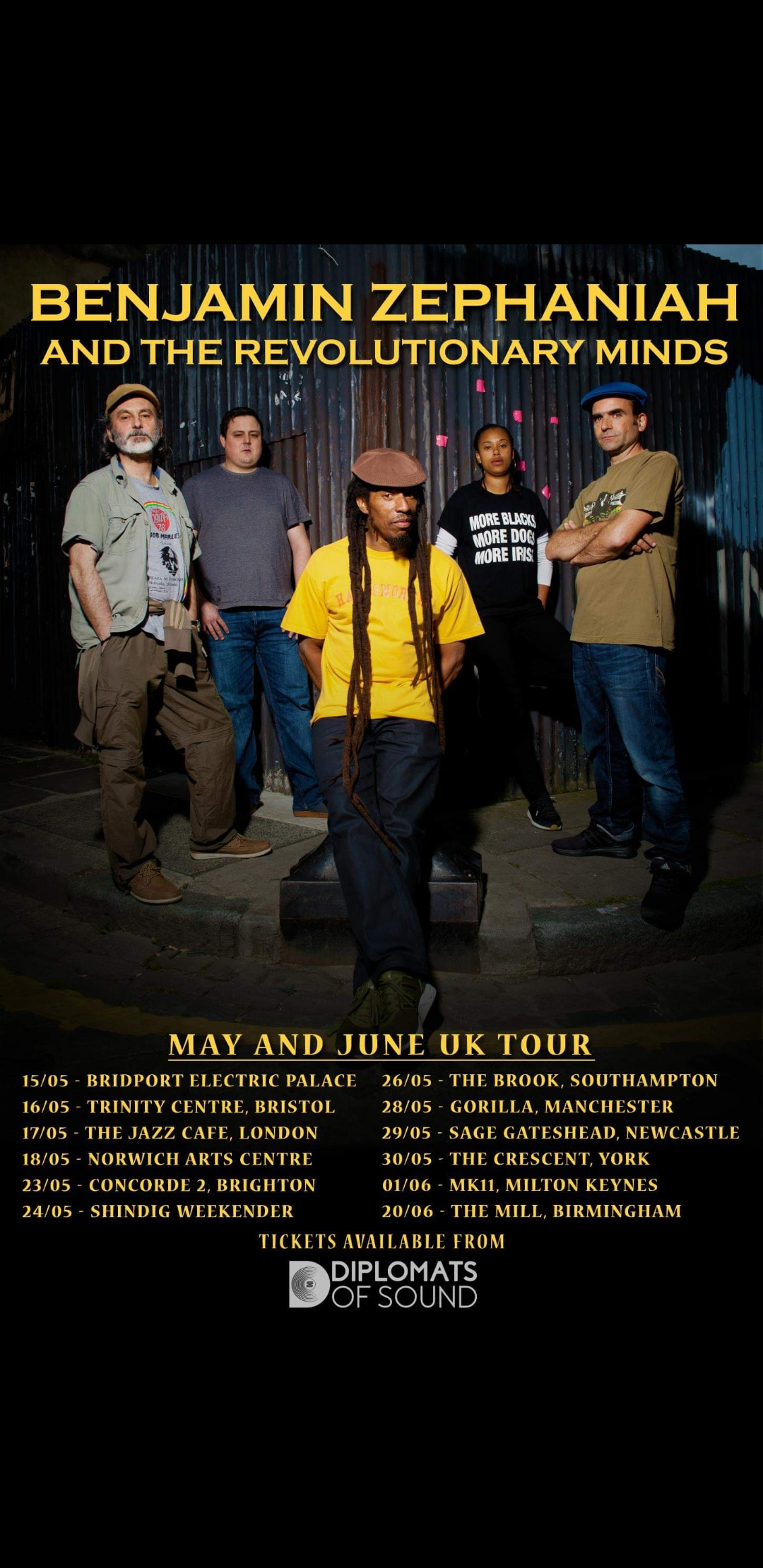 BENJAMIN ZEPHANIAH & THE REVOLUTIONARY MINDS UK 2019 TOUR, ALL TICKETS ONLINE.
