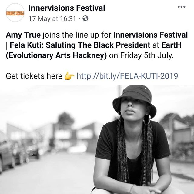 #AmyTrueLive joins the Incredible @delesosimi plus Live Band on Stage  #InnerVisionsFestival this year as they celebrate the life and Music of Legend; FELA KUTI @ Hackney Evolutionary Arts  5th July . . . #MoreLoveMoreLight