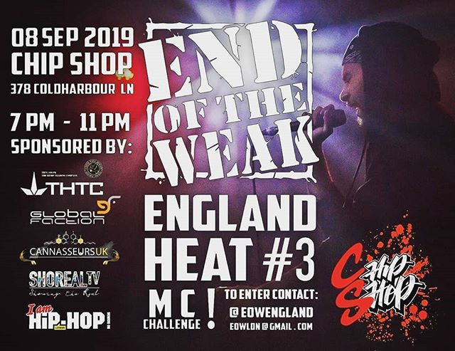 🙌🏽HIPHOP🙌🏽EOW🙌🏽HIPHOP🙌🏽EOW🙌🏽 . . 💗Reposted from @eowengland (@get_regrann) -  THIS SUNDAY!! EOW England 2019 #heat3 @chipshop_bxtn after the #Bristol fam fully represented with @redithejedi taking the win, we have got a ridiculous lineup of contestants ready to compete, plus PAs from incredible judges @amytrue1 @susbully and the don @djshorty79 as well as @cronxdon @djsnuffone @maslawsun @anthony_kissy.blacksanta and @apex.zero ready to run proceedings. All real Hip Hop heads, see ya dyah! . . . . . . #eow #endoftheweak #eowengland #dublife #mc #challenge #mcchallenge #eowengland2019 #rap #rapper #dj #hiphop #hiphopmusic #hiphopculture #lyricalhiphop #lyricalrap #grime #dnb #jungle #trap #drill #ukdrill #ukrap #londonrap #londonnightlife #londonmusic #ukhiphop