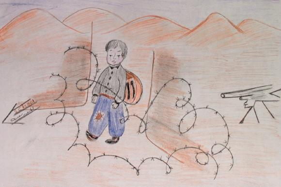 Drawn by a Palestinian child