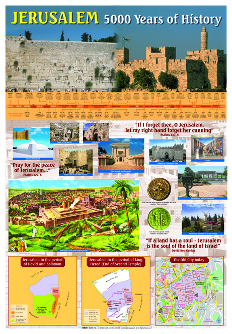 "Size: 27.5"" X 39"" (70 X 100 cm). Double side lamination with 2 hang tabs. Includes: a chronology of the history of Jerusalem, a map of the ancient city in the times of David and Solomon, a map of the city in the time of Herod (the end of the 2nd Temple period), and a map of the city today. With a variety of spectacular photos. (optional order: hanging map PVC banner with wooden holders. Size: 100X150 cm)."