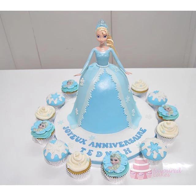 Elsa Frozen Doll Cake & Cupcakes