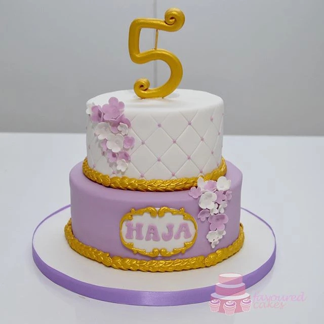 White & Lilac Tiered Baroque Cake