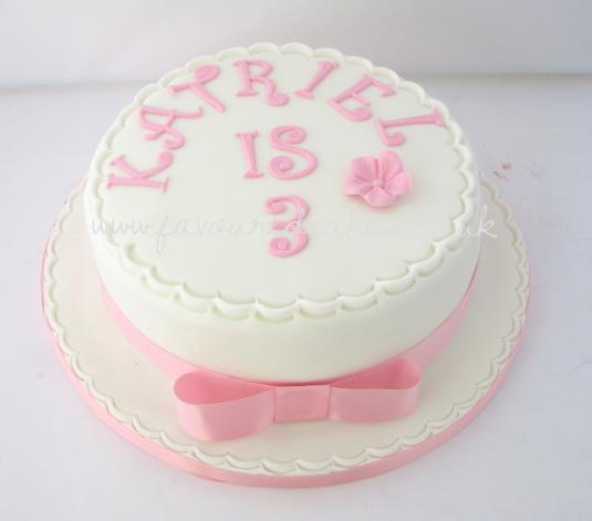 White & Pink Birthday Cake