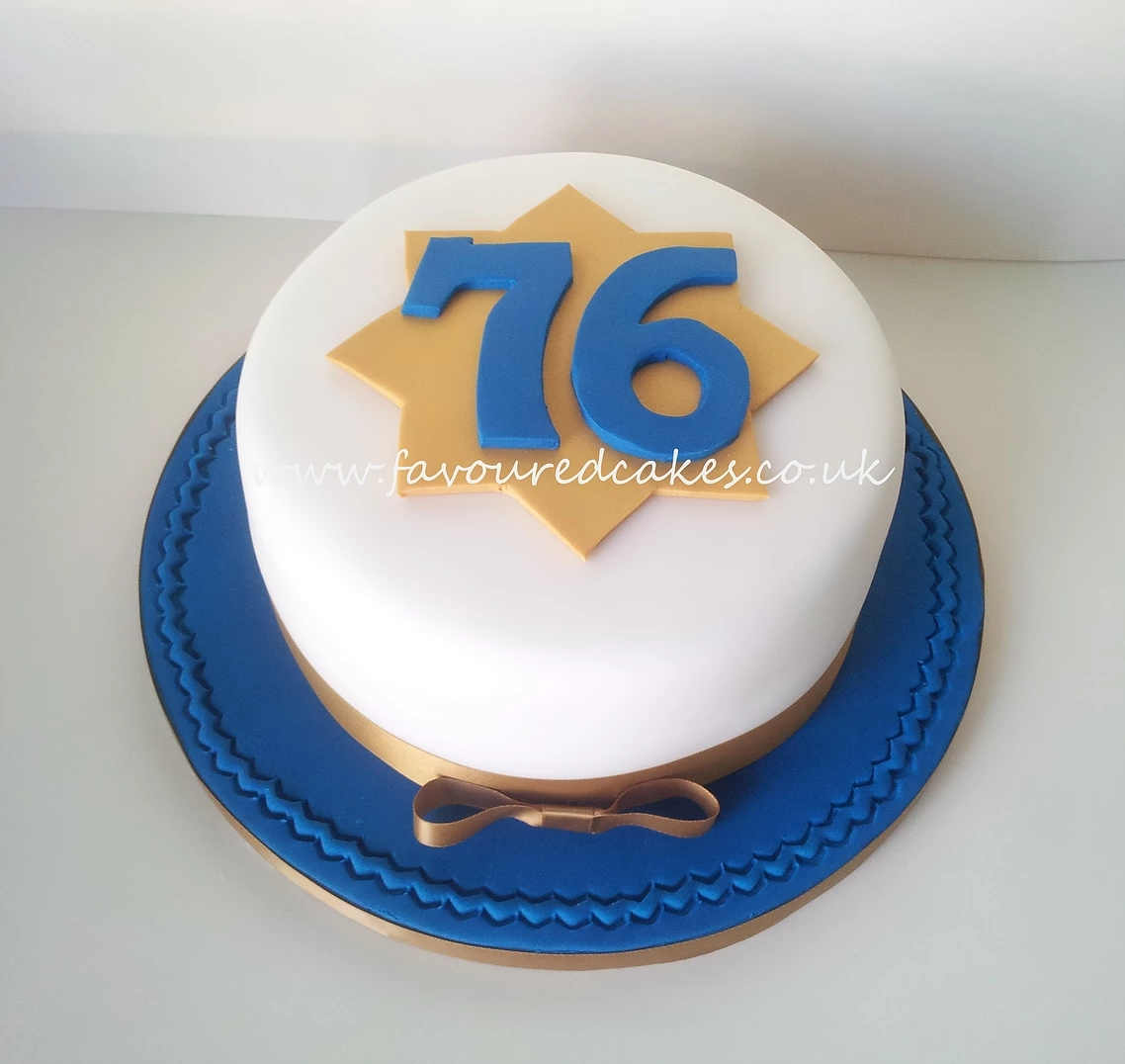 Gold Star Number Birthday Cake
