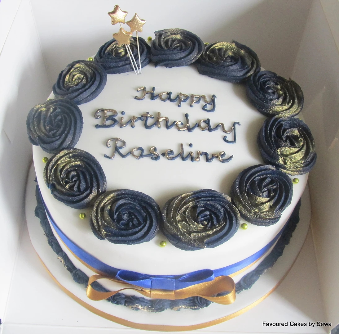 Blue and Gold Rose Cake