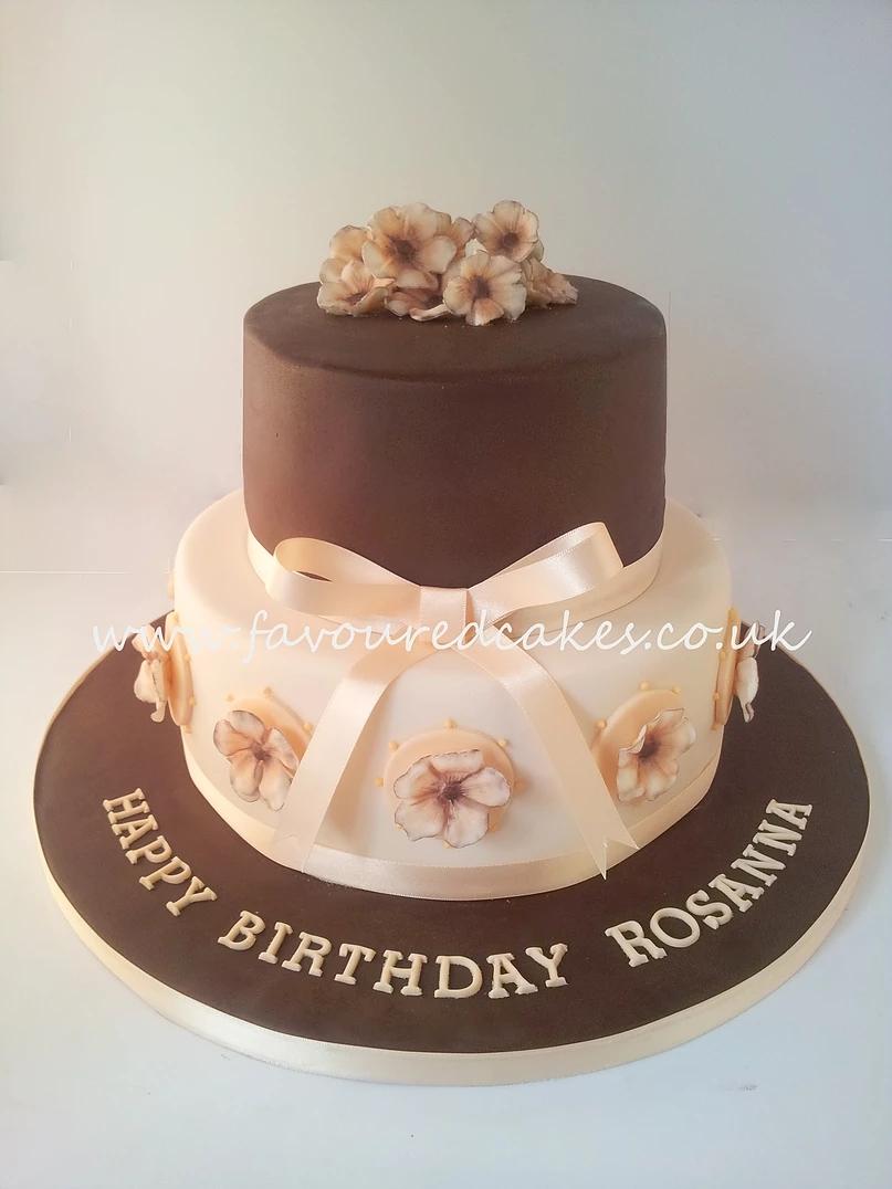 Brown & Peach Tiered Birthday Cake