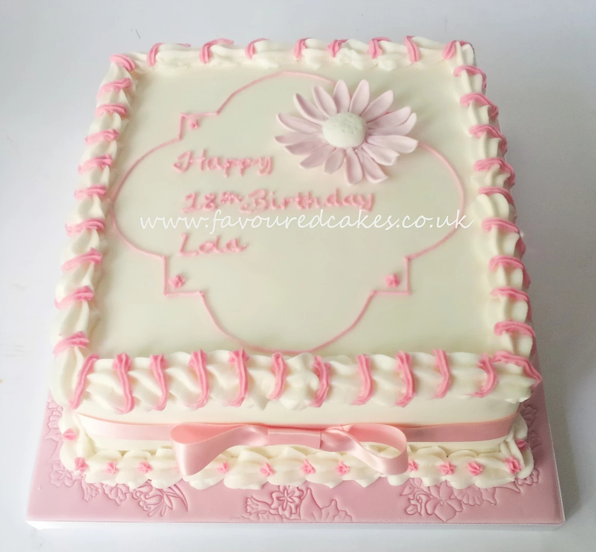 Pink Daisy Square Cake