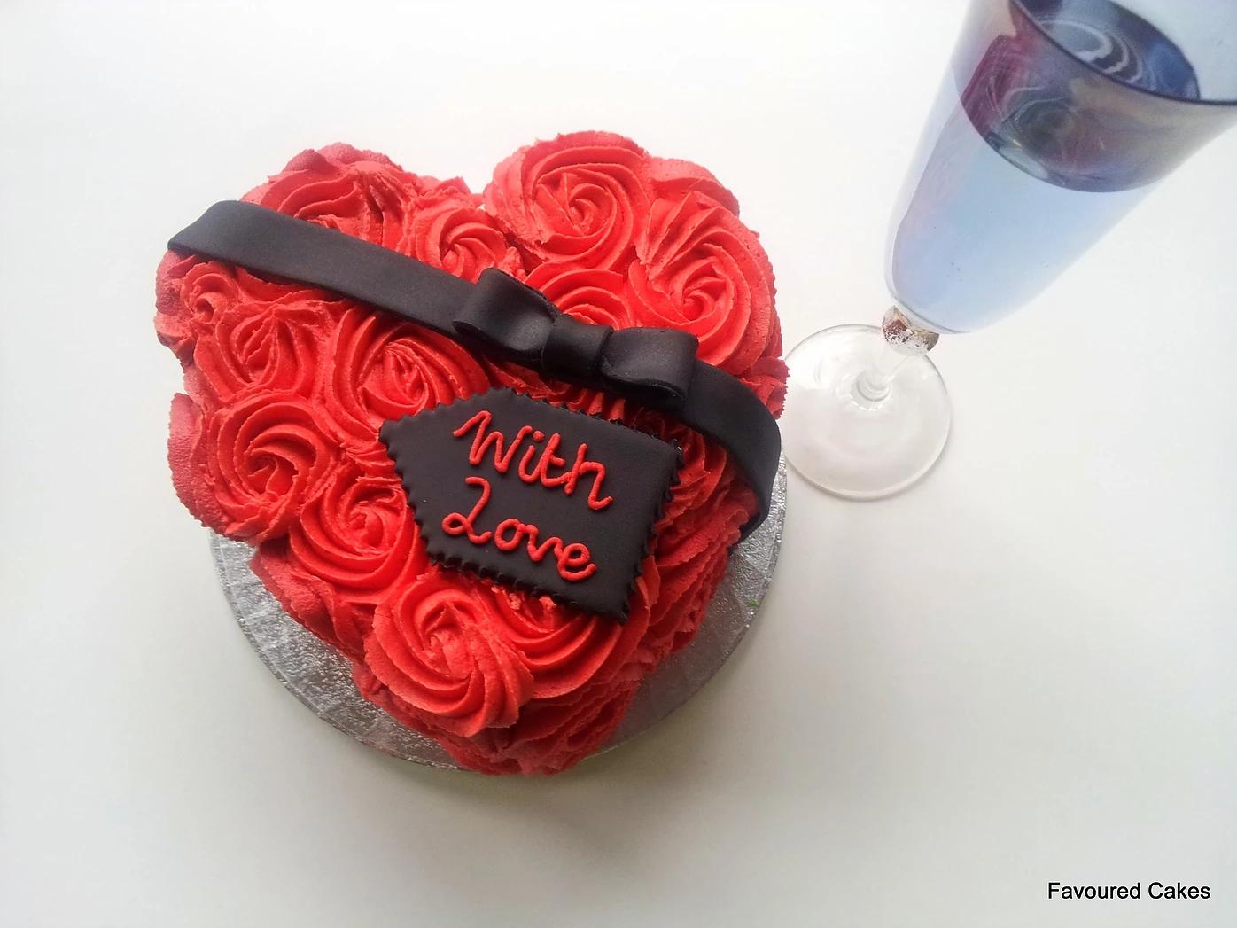 Buttercream Roses Heart Cake