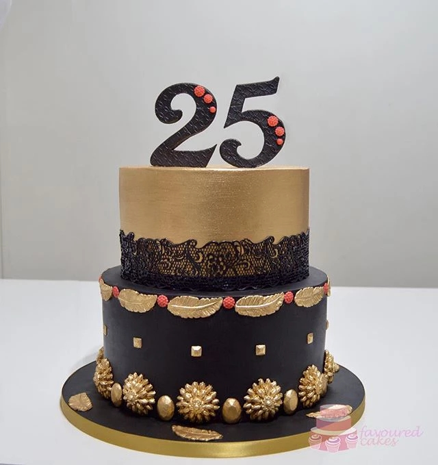 Black & Gold Lace Cake