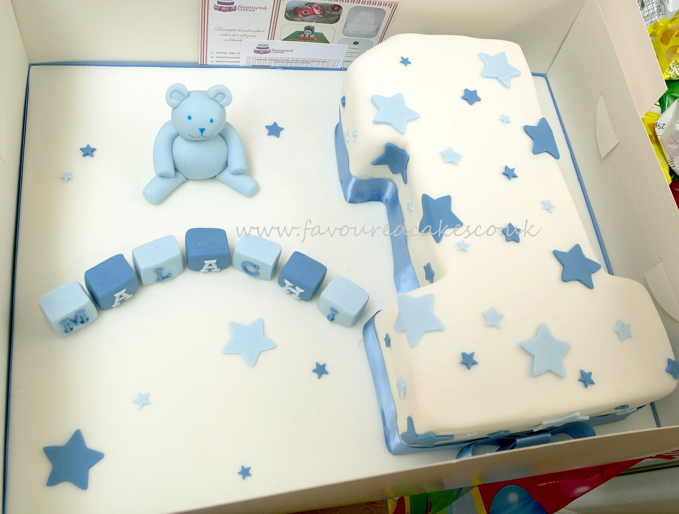 Number 1 Teddy & Name Blocks Cake