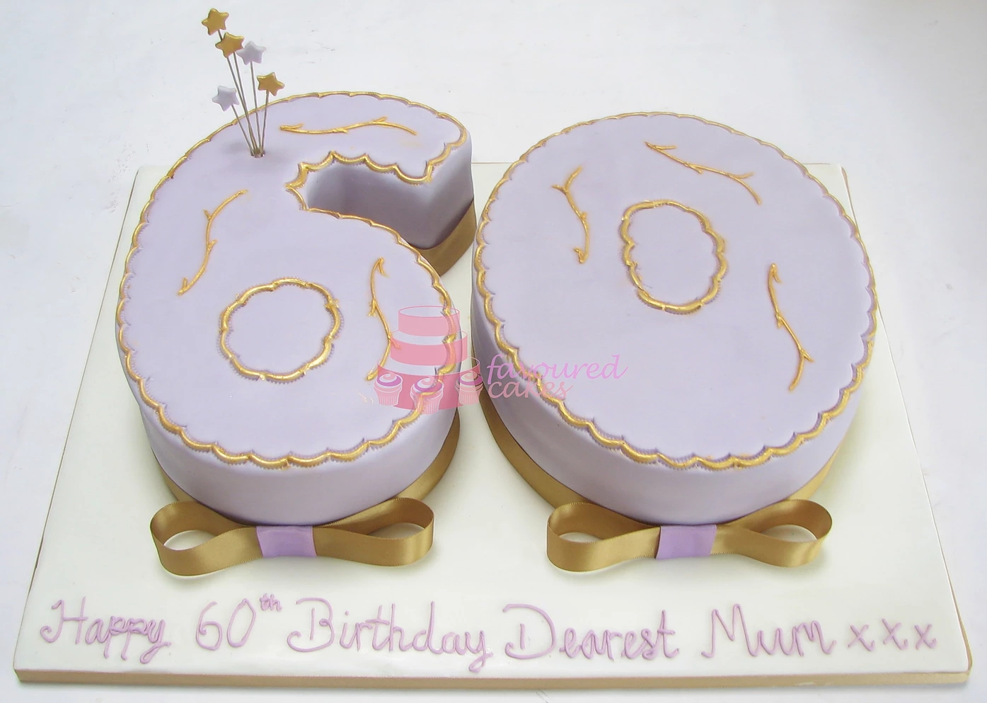 Lilac & Gold Number 60 Cake