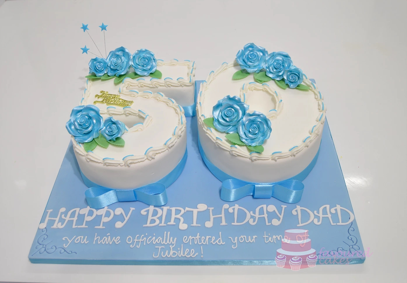 Number 50 Cake with Blue Roses