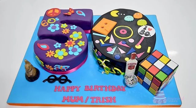 60s and 80s 50th Number Cake