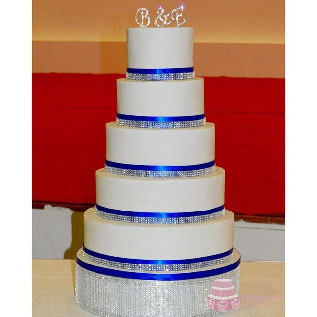 Diamante Ribbon Wedding Cake