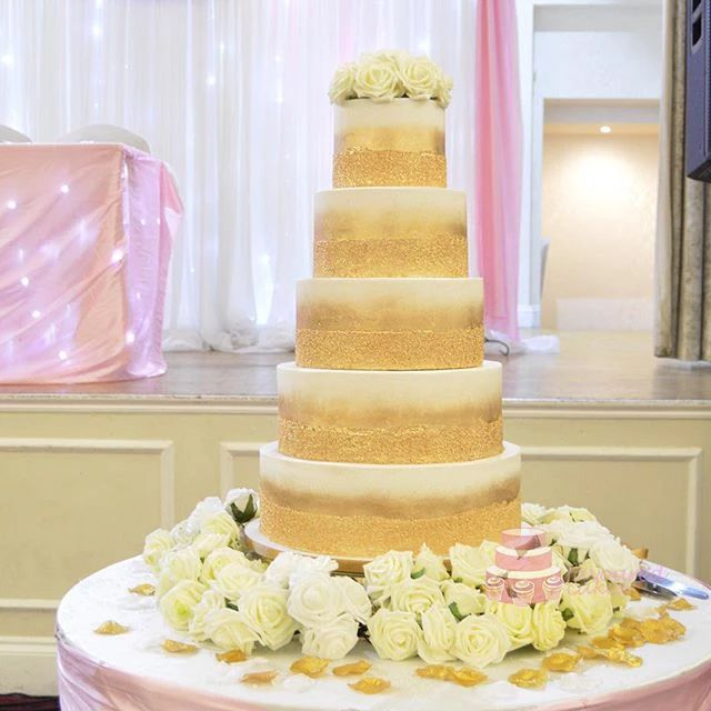 Gold Brush Wedding Cake