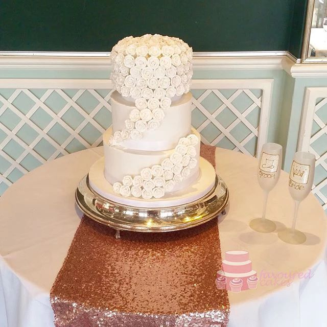 3 Tier Cascading Roses Wedding Cake