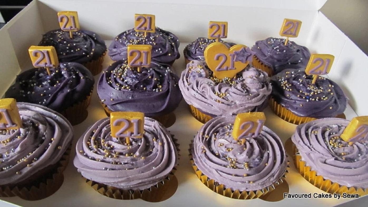 Purple Number Plaque Cupcakes