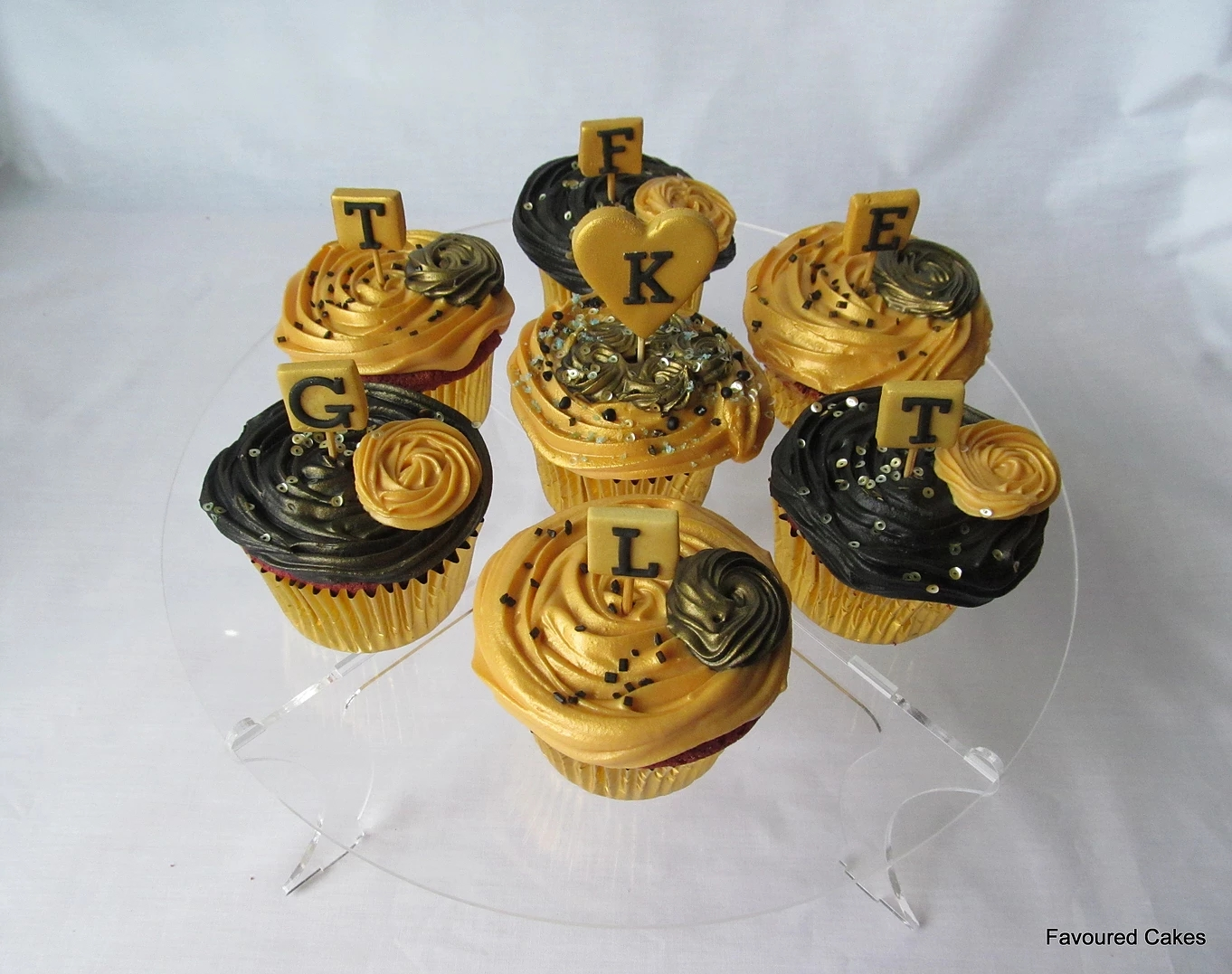 Gold and Black Sequin Cupcakes