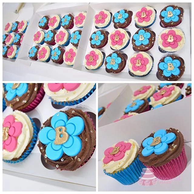 Personalised Pink & Turquoise Blossom Cupcakes